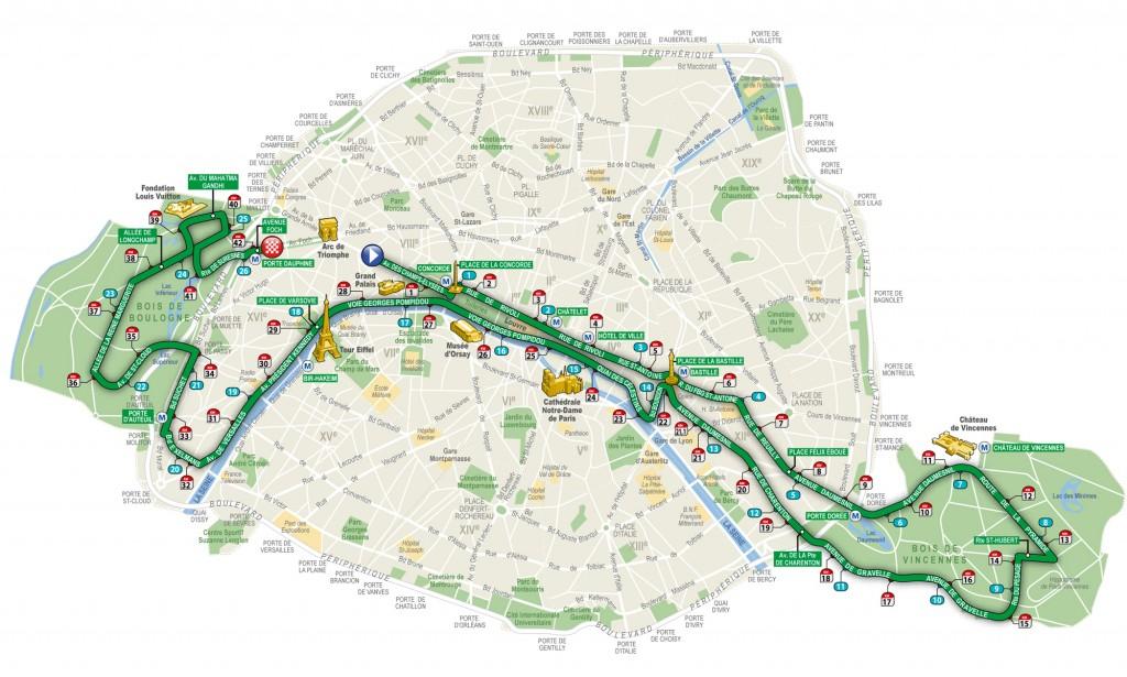 Parcours du Marathon de Paris 2017