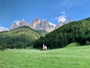 Church Santa Magdalena Dolomites Italy